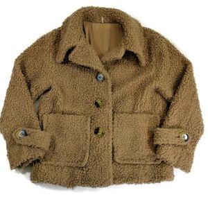 Free People Fuzzy Sherpa Jacket Brown Size XS
